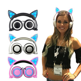 cat headphones Australia - Foldable Flashing Glowing Cute Cat Ear Headphones Gaming Headset Earphone with LED light For PC Laptop Computer Mobile Phone