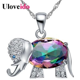 $enCountryForm.capitalKeyWord Canada - 45% Off Collier Rainbow Color Elephant Pendant Necklace Choker Sale Silver Chain Necklaces Cute Gifts For Girls Uloveido N1154