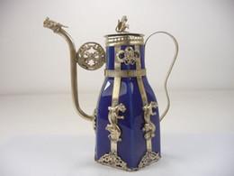 $enCountryForm.capitalKeyWord Canada - Exquisite Chinese Vintage Handwork Tibetan Silver Dragon Monkey Inlaid with Porcelain Teapot
