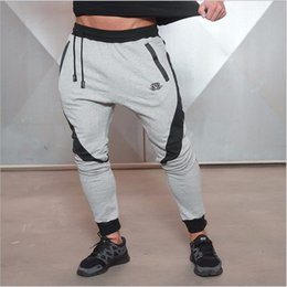 Slim Body Fashion Pour Homme Pas Cher-Vente en gros-2016 New Gold Medal Fitness Pantalons, Stretch Coton Hommes Fitness Pants Body Engineers Slim-type Streetwear Mode Casual
