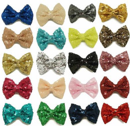 Baby Sequin Hair Clips Wholesale Canada - 2017 baby bows 3'' girls glitter hair bows christmas sequin hair clips accessories wholesale kids boutique hair clip bows pin accessories
