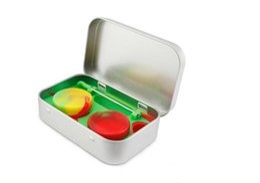$enCountryForm.capitalKeyWord UK - 4 in 1 Tin Silicone Storage Kit Set with 2pcs 5ml Silicon Wax Container Oil Jar Base Silver Dab Dabber Tool Metal Case