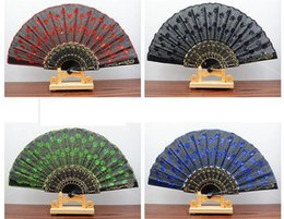 Select Plastic Canada - Chinese Styles Cloth Fan 9 Inch Peacock Feather Embroidery Colored Sequins Design Black Plastic Folding Hand Fan Multi-color Select Shipped