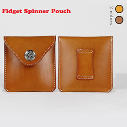 fidget tools NZ - Fidget Spinner Cowhide Leather Pouch Hand Spinner Toys Live Storage Bags key phone cable USB storage bag Coin bag DHL