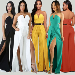 Combinaison De Taille Haute Pas Cher-Sexy V Neck Off Shoulder Jumpsuit Romper Women Working Elegant High Waist Office Costume de sport Leotard High Split Wide Leg Party Overalls