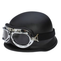 Dot Approved Half Helmets Canada - 2017 wholesale WWII German Vintage Motorcycle Helmet Motocicleta Capacete Casco motorbike scooter Half Helmets With Goggles DOT Approved