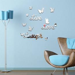 Diy Living Room Furniture Australia - Europe English digital stickers Home Decoration Mirror Surface Mirror Wall Stickers Living Room diy Furniture Stickers