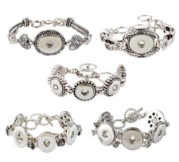 $enCountryForm.capitalKeyWord NZ - 5 Styles Noosa Antique Silver Color Floral Bracelet Fit 5.5mm 18mm Snap Button Jewelry Charm Slave Bracelet Valentine'S Gift N8L