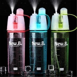 new drink bottle sports spray water bottle with spray mist for adult kids students protable water cooling hiking cycling 400 600ml water cooler for kids on