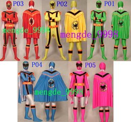 Cosplay Hero Cape Canada - Unisex Superhero Costumes 5 Color Lycra Spandex Fancy Dinosaur Warrior Suit Catsuit Costumes With Double Cape Halloween Cosplay Suit M116