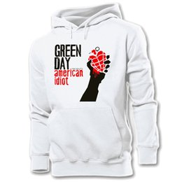 Barato Hoodies De Pulôver Gráfico Para Homens-Atacado- iDzn New Hot Unisex Fashion Printed Hoodie Green Day Punk Band Design Design Pullover Casual Men Sweatshirt Tops