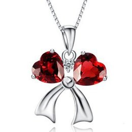 925 platinum chain 2021 - Platinum Plated Luxurious Amethyst Pendant Double Hearts Style Red Bow Necklace 925 Silver Love Pendant NO CHAIN