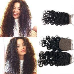 Water Knots Canada - Silk Base Closure with Hidden Knots Peruvian Virgin Hair Middle Free 3 Part Top Closure Water Wave Human Hair FDSHINE
