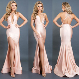 Barato Coral Alta Moda Vestidos-2017 New Design Spaghetti V Neck Evening Dresses Sexy Backless High Split Mermaid Prom Dresses Long Women Fashion Party Gowns