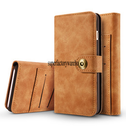 China Phone7Plus cases mobile phone holster 6s retro magnetic two-in-one card flip Samsung S8 protection wallet suppliers