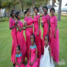 nigerian white lace short dress styles Canada - Hot Pink Nigerian Arabic Style Mermaid Bridesmaid Dresses Sheer Neck Short Sleeves Lace Plus Size 2017 Cheap Wedding Guest Party Gowns