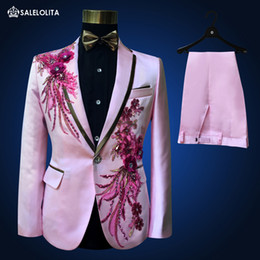 большие мужские костюмы  оптовых-Big Sale Limitted Time Fashion Men Wedding Groom Tuxedos Suit Pink Sequins Men s Bridegroom Blazer Suits Halloween Costumes