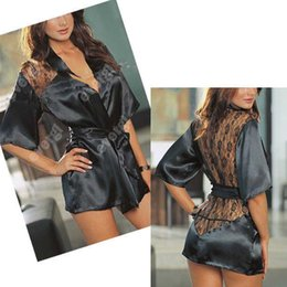 Robe En Satin De Dentelle Kimono Pas Cher-Vente en gros - Sexy Satin Lace Black Kimono Intimate Sleepwear Robe Night Gown