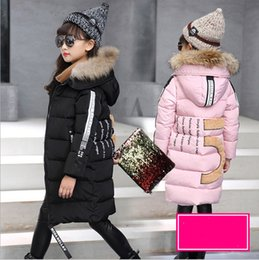 Veste D'hiver Fille 4t Pas Cher-Kids Long Parkas For Girls Manteau à capuche en fourrure Russe Baby Winter Thick Warm Down Jacket Enfant Vêtements d'extérieur Bébés Gant Overcoat