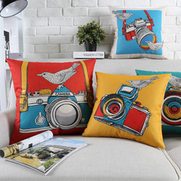 Modern pop art paintings online shopping - Watercolor Painting Camera And Birds Cushion Covers Modern Minimalist Pop Art Pillow Cover Decorative Linen Cotton Pillow Case For Sofa Seat