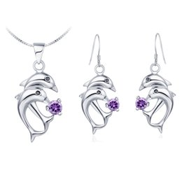 $enCountryForm.capitalKeyWord UK - Wholesale trade NEW pendant Necklace earring Jewelry Set diamond suit suit suit made of 925 Silver Dolphin