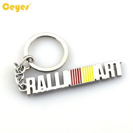 Logo Arts Canada - Car Keyring key chain Logo RALLI ART Emblem Badge case for mitsubishi axs lancer 9 10 l200 pajero Car Accessories Key Chain Styling