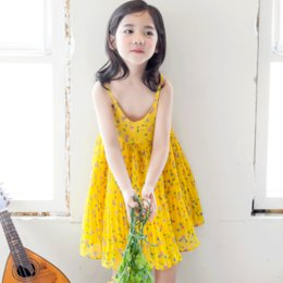 Robe En Mousseline De Soie Florale Jaune Pas Cher-Everweekend Princess Girls Floral Sundress Chiffon Suspend Ruffles Robe Jaune Couleur Sweet Children Western Cute Party Dresses