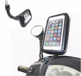Wholesale DHL Free Motorcycle Waterproof Cell Phone Case Bag Motorbike Rearview Mirror Mount Holder for Samsung for Iphone
