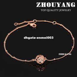 $enCountryForm.capitalKeyWord NZ - Top Quality ZYA026 Hollow Out Ball Rose Gold Color Anklets Jewelry Austrian Crystals Wholesale