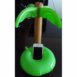 Wholesale-12 Pcs Palm Trees Floating Inflatable Drink Can Holder for Cola Cup/Cell Phone/Remote Controller Summer Pool Swim Toy