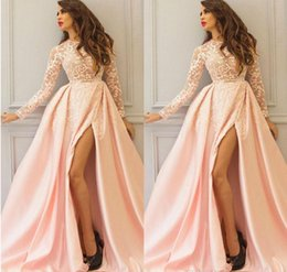 Robe Rose À Dos Pas Cher-Elegant Pink Satin High Side Split Robes de soirée Long Sleeves Scoop Lace Zipper Retour Vestido De Festa