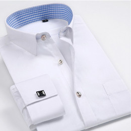 Wholesale ironing mens dress shirts for sale – dress Luxury French cuff Button MENS Dress Shirt New Fashion Non Iron Long Sleeve slim striped High Quality Business formal Shirt