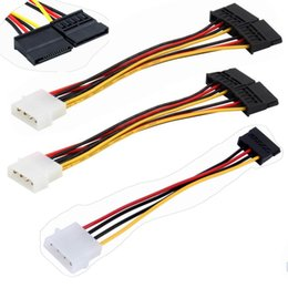 Laptop Ide Cables NZ - 500pcs lot * 4pin Serial ATA SATA 4 Pin IDE Molex to 2 of double 15 Pin HDD Power Adapter Cable Hot Worldwide Promotion