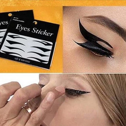Autocollants Pour Tatouage Des Yeux Gros Pas Cher-Grossiste-4 paires Yeux autocollant Eyeliner style chat Sexy temporaire Double Eyeshadow paupière bande Smoky Tattoo Eye Makeup Outils Noir