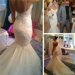 Barato Vestido De Noiva De Damasco De Sereia De Tule-Vestidos de noiva de renda vintage Mermaid Spaghetti Straps Backless Ivory Tulle Low Back sem mangas Sequins Wedding Bridal Gowns Custom Made 2016