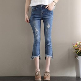 high speakers NZ - New arrival Summer seven points cowboy high waist elastic Slim was thin speaker large size flash tassel micro-pants JW050 Women's Jeans