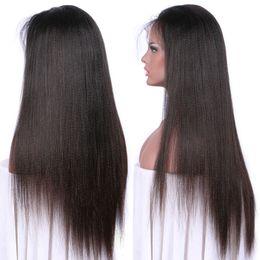 ItalIan yakI wIg brazIlIan haIr online shopping - Long Straight Silk Top Human Hair Wigs Italian Light Yaki Full Lace Wig Lace Front Wig Unprocessed Virgin Brazilian Light Yaki Wig