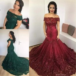 Barato Lantejoulas Verdes-2017 New Hunter Green Mermaid Prom Dresses Borgonha Off Shoulder Illusion Lace Beaded Sequins Appliqued Plus Size Formal Party Evening Gowns