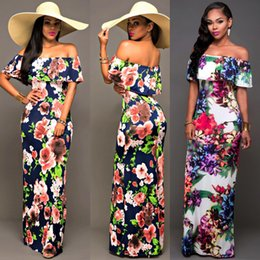 Robes De Plage Maxi Pas Cher Pas Cher-2017 Sexy Off the Shoulder Beach Été bon marché Maxi Floral Imprimé Robes Femmes Robes longues Gaine Bodycon Floor-Length Holiday FS1737