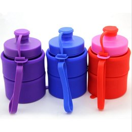 Discount bottle folded - Silicone Collapsible Water Bottles Silicone Foldable Cup Eco Friendly Folding Seal Cups Sports Portable Bottle 7 Colors