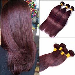 cheap red straight weave human hair UK - 60g 4Pcs lot Brazilian Human Hair Extensions Straight Red Wine Color Hair Weaves Burgundy Cheap Hair Bundles 99J color,free ship