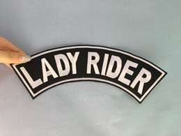 China Lady Rider Patch Top Rocker Black Back Patches For Vest Jacket Embroidered Badges Iron Sew On Badges 10 Inch Free Shipping supplier embroidered jackets ladies suppliers