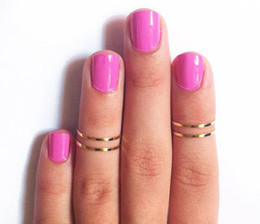 above knuckle ring gold Canada - 2017 Fashion women Midi Rings Urban Gold&Silver stack Plain Cute Above Knuckle Nail Ring For Girl Christmas Gift Jewelry
