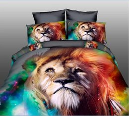 Chinese  Wholesale- DHL Free Shipping Hot Cool Lion Tiger-Cats swan HD 3d printing Bedding set Queen Size 4pcs Bed Sets Sheets manufacturers