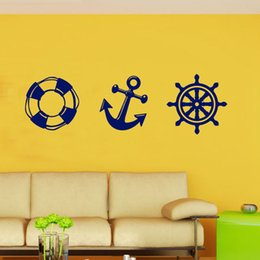 nursery wall stickers for boys Australia - Life Buoy Anchor Rudder Wall Stickers Home Decor for Boys Girls Room Removable Sailor Fan Window Glass Decorative Wallpaper Art
