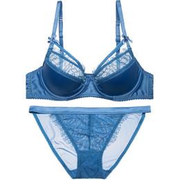97dc45dd3d Blue black plus size thin cotton cup lash women fashion bras sets sexy  satin lingerie suit push up lace intimates Bra   Brief