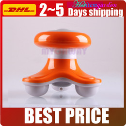 Electric Neck Massager Canada - Mini Portable Orange Wave Vibrating Massager Electric Handled Battery USB Full Body Head Neck Shoulder Arm Massager In 5 Colors