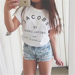 Atacado- Nova Marca de Moda JACOBS Mulheres T Camisas de Algodão Ocasional de Manga Curta Tops T-shirt Letras de Letras de Camisetas Mujer em Promoção