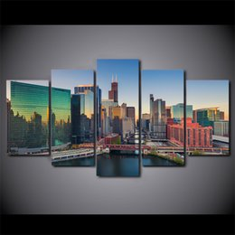 $enCountryForm.capitalKeyWord Canada - 5 Pcs Set Framed HD Printed New York City Building Skyscrapers Wall Canvas Modern Painting Poster Home Decor Decorative Picture