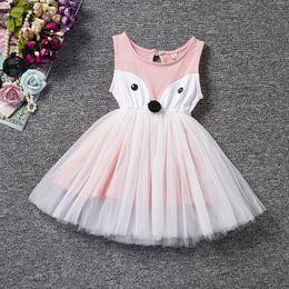 Silk pink baby dreSS online shopping - 2017 summer girls dresses fox baby girl cute pink tutu skirts kids sleeveless dress children clothing